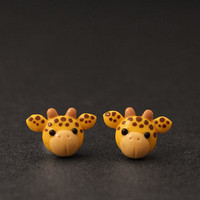 Giraffe Earrings Studs, Safari Animals, Cute Clay Animal Earrings