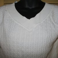 Anazing TALBOTS Knitted Cable Sweater Top White V Neck Design Cotton Size S Petite Made in JAPAN