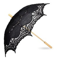 Black Battenburg Lace Umbrella Parasol, Romantic Wedding Umbrella
