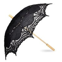 TOPTIE Lace Umbrella, Wedding Black Battenburg Parasol, Christmas Gift