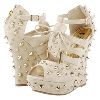M1062-20 Spike Studs Wedge Heel Pumps TAUPE