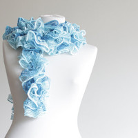 Women knit ruffled scarf, blue, spring accessories, long scarf, lariat scarf