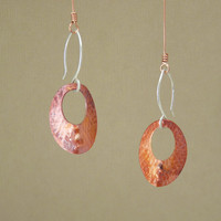 copper earrings - mixed metal earrings - tribal copper earrings