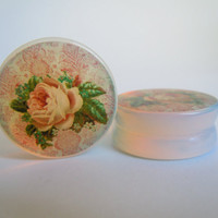Stained Glass Effect Victorian French Vintage Rose Plugs 0g (8mm), 00g (10mm) Solid Opalite Stone Saddle Plugs / Gauges by Gauge Queen