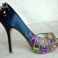 Gwendolyn 4.5 inch heel ...  brilliant.. sparkling..  peep toed shoes for brides maids, prom or any special event