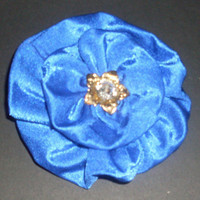 Large Sapphire Blue Rhinestone Fabric Hair flower by rachelsartwork
