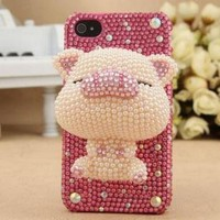 HOT Bling handmade 3D sucker Pig Diamond case skin for Apple iPhone 4 4S BV