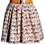 Tiny Kitten Faces Printed Woven 100% Cotton Gathered Mini Skirt