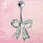Steel Rhinestone Bowknot Button Ball Belly Navel Ring Barbell Body Piercing