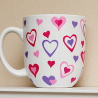 Valentine's Day Mug  Sweethearts  Hot Pink by TheBeautifulHome