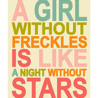 Finny and Zook - Cream 'A Girl without Freckles' Print