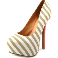 Neon Pop Color Striped Pump: Charlotte Russe