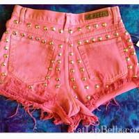Vintage high waist or low rise pink or plain frayed and studded high waist shorts