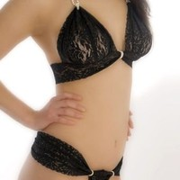 Bracli Acapricho Lace Thong with Single Strand of Pearls Panty ACPTHONG at BareNecessities.com
