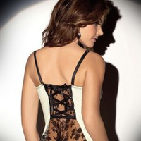 Escante Flutter Camidoll Bustier with Matching Thong Sleepwear 30710 at BareNecessities.com