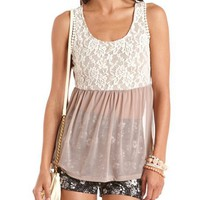 Lace Top Mesh Babydoll Tank: Charlotte Russe