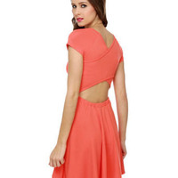 Casual Orange Dress - Coral Dress - Criss-Cross Dress - Cutout Dress - $40.00