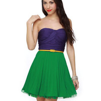 Unique Color Block Dress - Pleated Dress - Green Dress - Strapless Dress - $72.00