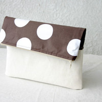 Foldover Clutch Purse Polka dot Brown Chocolate