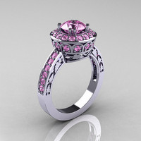 10K White Gold 1.0 Carat Light Pink Sapphire Wedding Ring, Engagement Ring R199-10KWGLPS