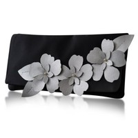 Black and silver satin Astor applique flower clutch