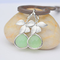 Silver Orchid and Large Sage Green Teardrop Drop Earrings. Sage Green Dangle Earrings. Jewelry Gift for Her.  Free Shipping.