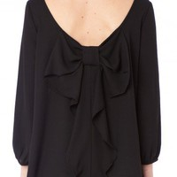 Coletta Bow Blouse in Black - ShopSosie.com