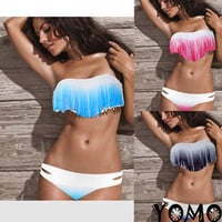 SEXY Gradient Padded Boho Fringe Strapless Dolly Bikini Swimwear Bathing Suit