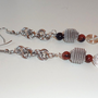 Goldstone Coil & Swirl Dangle Chainmaille Earrings