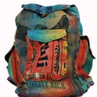 Amazon.com: Silly yogi multi recycled jute back pack-Multi-One size: Clothing