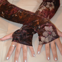 Brown and Pink Floral Armwarmers