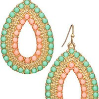 Beaded Teardrop Earrings- Mint