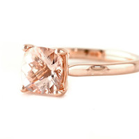Cushion Morganite Ring 14K Rose Gold Morganite by RareEarth