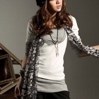 Wholesale Hot Sale Splicing Long Sleeves Fake Two-piece T-shirt Grey