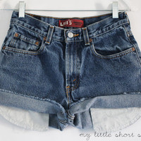 High Waisted Denim Levi&#x27;s Shorts W27 by MyLittleShortShop on Etsy
