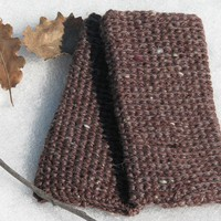 Fingerless Gloves - Wrist Warmer - Chestnut Brown - Wool | Luulla