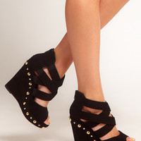 New Look Party Studded Zip Back Wedge Shoes