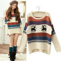 Holiday Winter Loose Style Asymmetric Long Sleeves Ivory Reindeer Knit Sweater