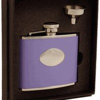 "Visol ""Blossom"" Lavender Leather 4oz Flask Gift Set"