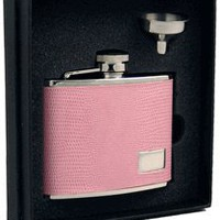 "Visol ""Flourish"" Leatherette Stainless Steel 4oz Flask Gift Set"