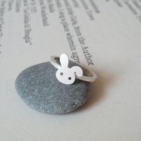 Bunny Rabbit Ring In Sterling Silver No. 2, Handmade In Beautiful Cornwall, UK | Luulla