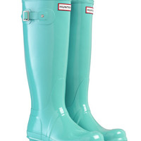 HUNTER ORIGINAL GLOSS TALL MINT WELLINGTON BOOTS  Welly BLUE