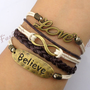 Love,Infinity & Believe Bracelet--Antique Bronze Bracelet--Wax Cords and Imitation Leather Bracelet--Best Chosen Gift