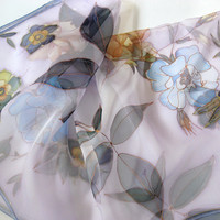 Square Silk Chiffon Scarf Hand painted with Flowers by DEsilk