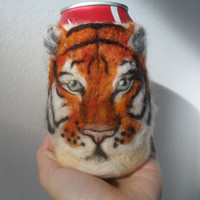 Tiger can cozy or koosie shipping included by Crystalcat1989
