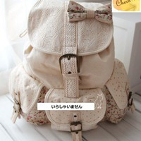 JAPAN Vintage Ribbon Bow Lace Polka Dot Backpack School Bag Rucksack Christmas