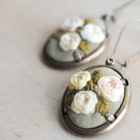 Embroidered Earrings pale yellow roses and olive green by stoastn