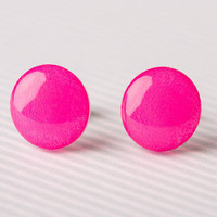 Hot Pink Post Earrings