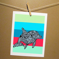 Dolphin Zentangle Art Print  Tursiops truncatus by MayhemHere