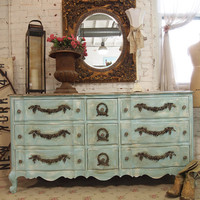 Painted Cottage Chic Shabby Aqua  Dresser DR011
